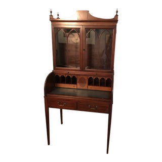 1920s Traditional Mahogany Ladies Roll Top Desk For Sale