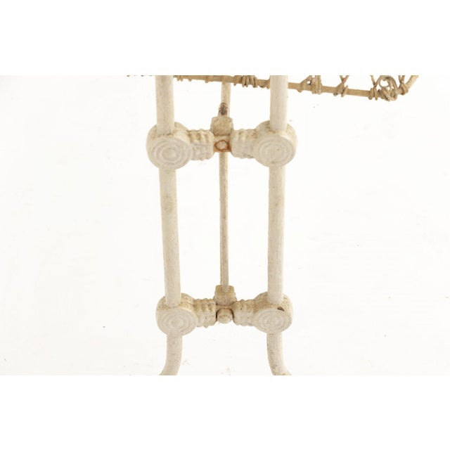 White Antique Victorian Painted Wrought Wire and Cast Iron Swinging Cradle For Sale - Image 8 of 10