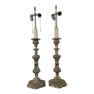 Monumental Baroque Silver Candlestick Lamps - a Pair For Sale
