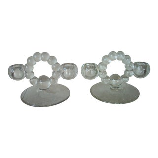 1930s Vintage Imperial Candlewick Candle Holders- A Pair For Sale