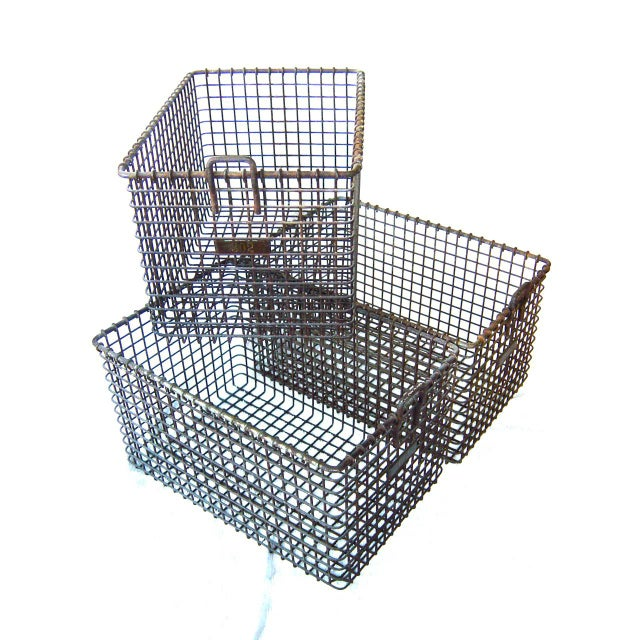 Metal 20th Century Americana Metal Gym Baskets - Set of 3 For Sale - Image 7 of 7