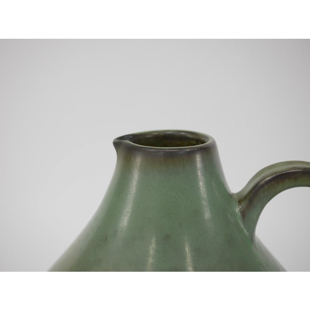 "Very Large, Ewer Green Ceramic Vessel, Danish Modern, Mid-20th Century by Knabstrup Pottery Fabric. Measures: 21"" H X 14""..."