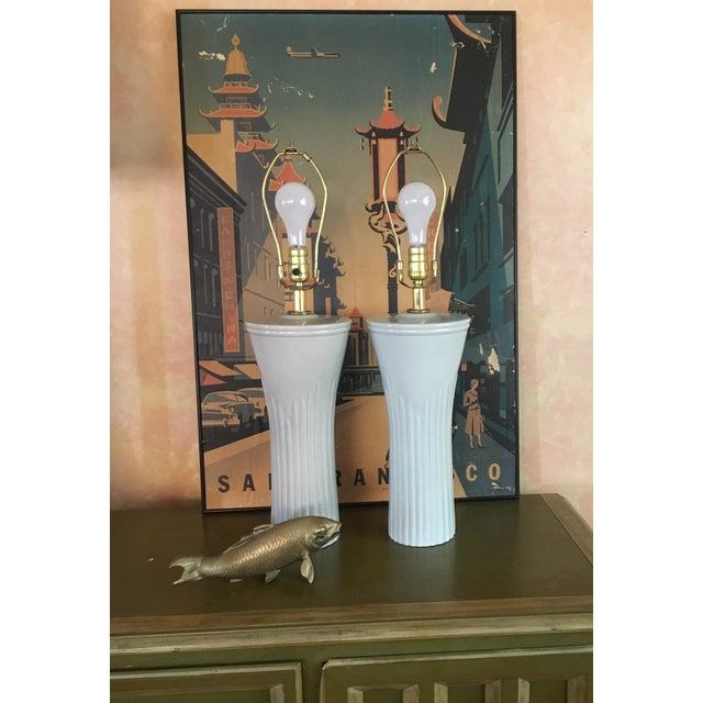 Art Deco Shades of Sea Foam Lamps - A Pair - Image 4 of 8