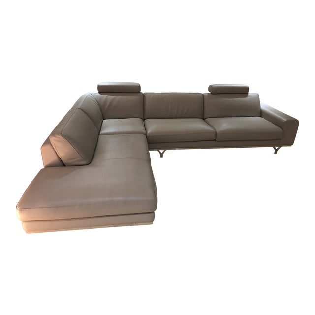 Modern Roche Bobois Gray Leather Sectional Sofa For Sale