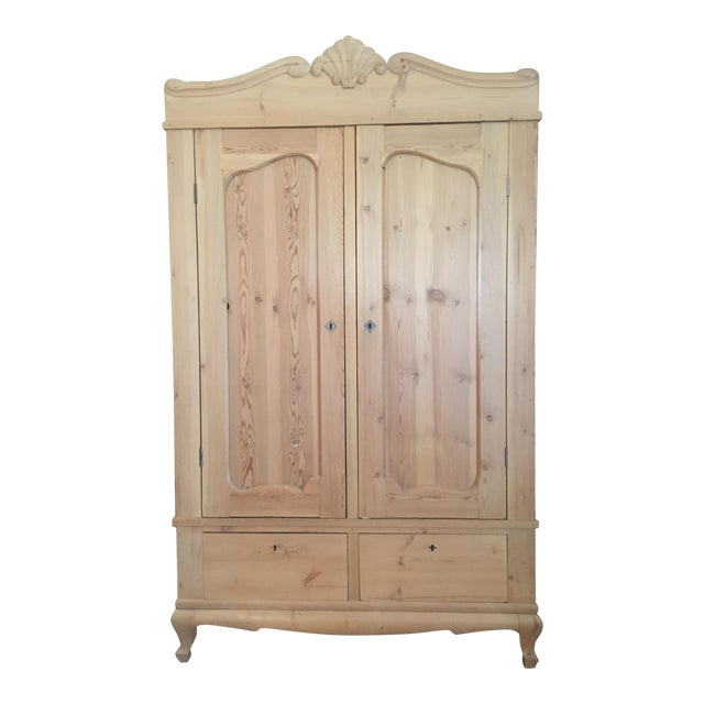 19th Century Antique Scandinavian Pine Wardrobe - Image 1 of 6