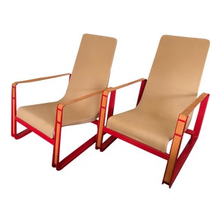 Jean Prouve for Vitra Cite Lounge Chair With Steel Frame and Leather Buckles- Pair