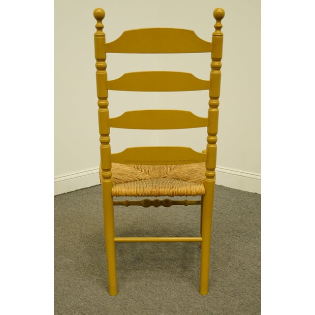 Wood Late 20th Century Hitchcock Stenciled Ladder Back Accent Side Chair For Sale - Image 7 of 10