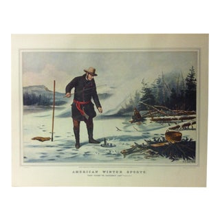 "Currier & Ives American Print, ""American Winter Sports"", Crown Publishing, Circa 1950 For Sale"
