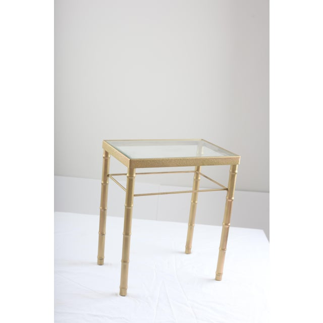 Faux Bamboo Brass & Glass Nesting Tables - Pair - Image 6 of 8