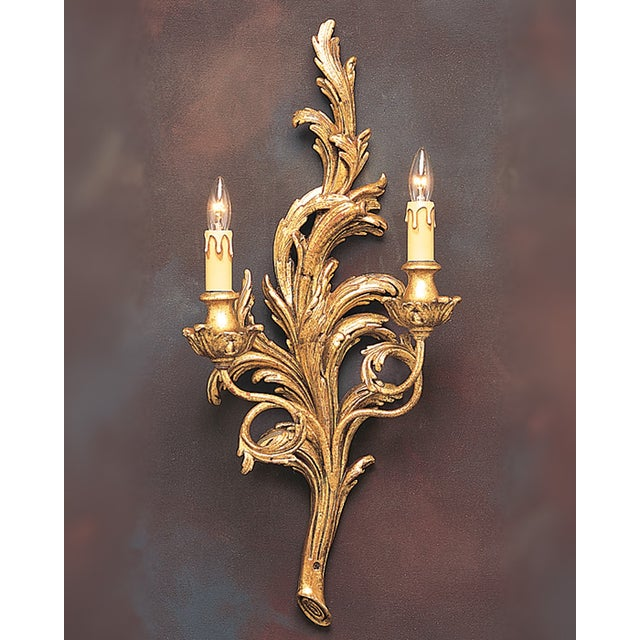 Italian Two-Light Gold Hand Carved Wood Sconce - Image 3 of 3
