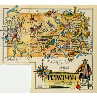 Vintage Pennsylvania Pictorial Map 1946 For Sale