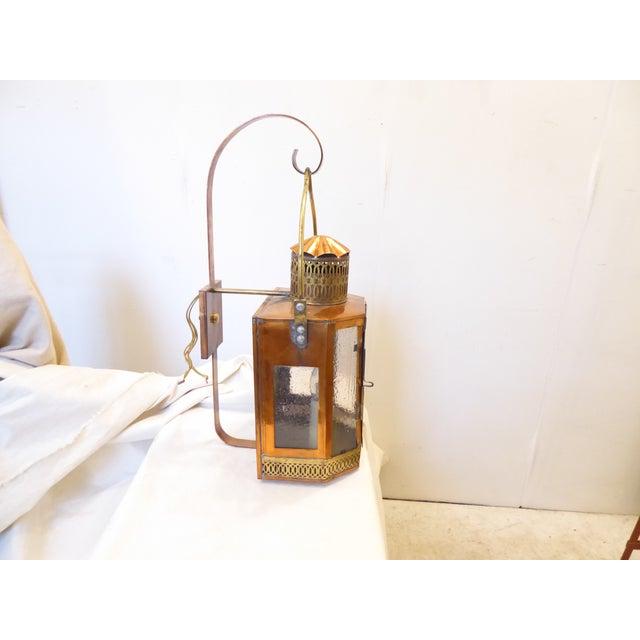 Mid 20th Century Vintage Copper Lantern Sconces - a Pair For Sale - Image 5 of 8