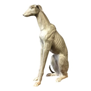 Large Vintage Brass GreyHound Statue For Sale