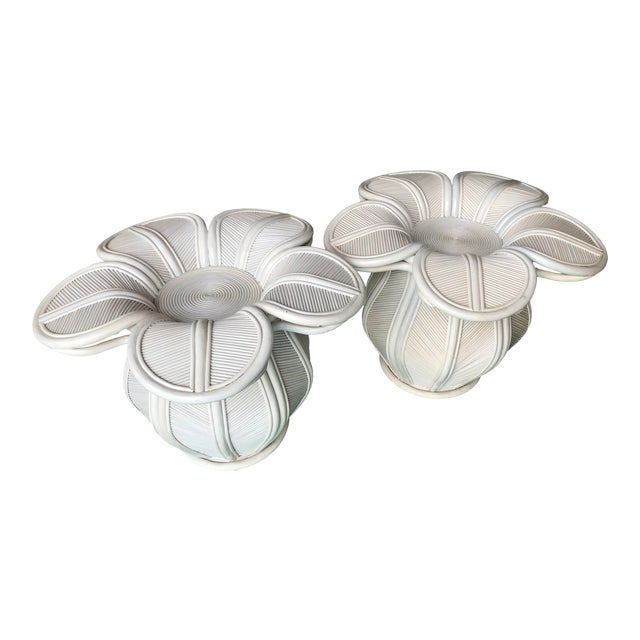 Tropical Pencil Reed Rattan Bell Flower Side Tables-Pair For Sale