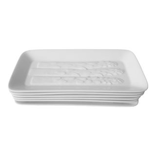 Vintage Porcelain Asparagus Plates-Set 6 For Sale