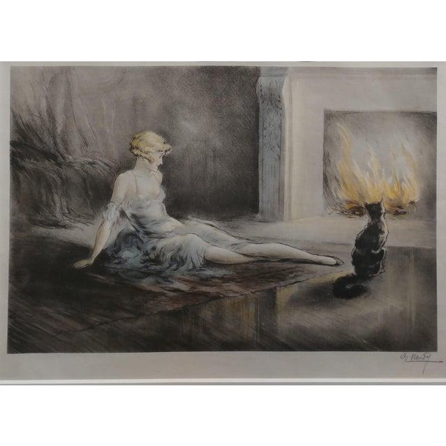 Art Nouveau E. Naudy 1920s Art Nouveau Woman W/Cat by Fireplace Lithograph For Sale - Image 3 of 10