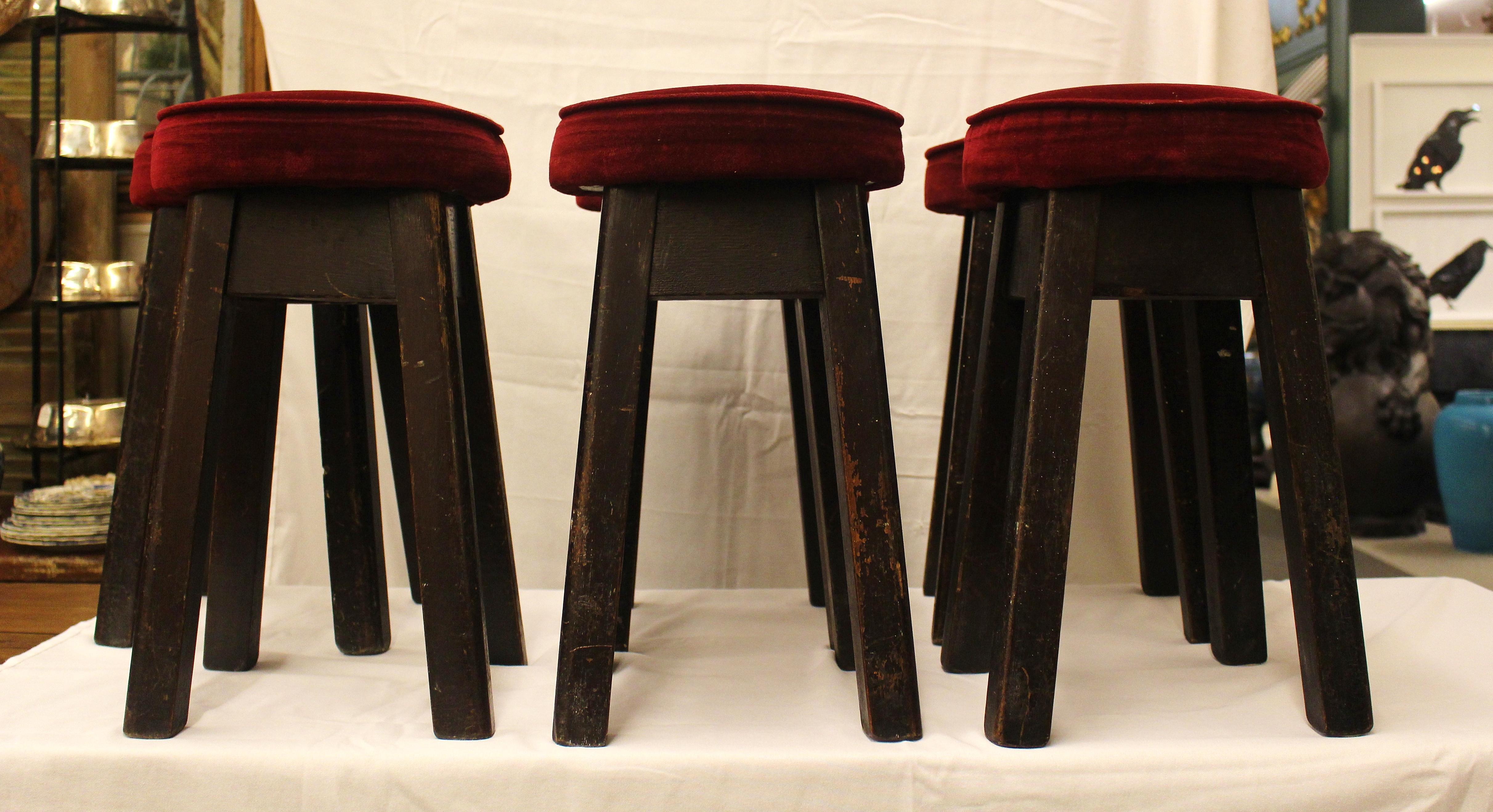 English Bar Stools Set Of 6 Chairish