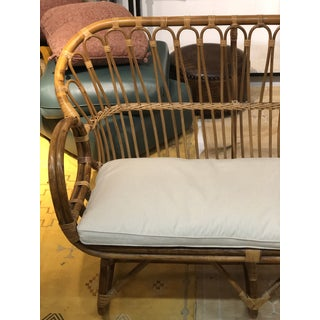 Vintage Rattan Love Seat With New Upholstery Preview