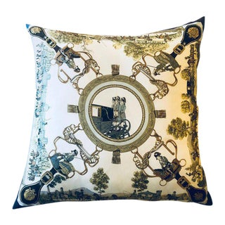 Enormous Hollywood Regency Style Hermes ''Grands Attelages'' Silk Stuffed Pillow