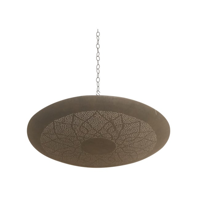 Moroccan Hand Carved Brass Ceiling Light - Image 1 of 4