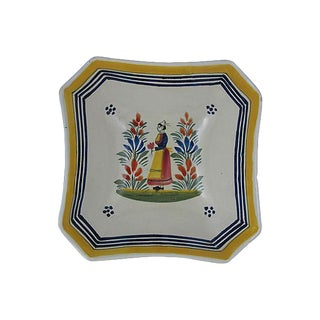 French Quimper Vintage Faience Square Bowl, Breton Femme For Sale