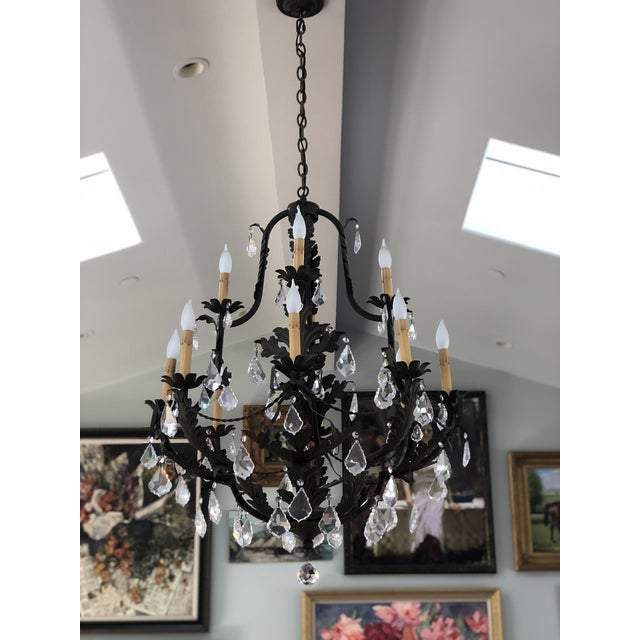 2000s Rustic Black Iron and Crystal 12 Arm Chandelier For Sale - Image 5 of 6