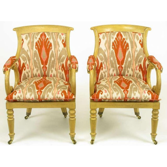 Pair Interior Crafts Regency Scrolled Arm Chairs In Ikat Fabric - Image 2 of 10