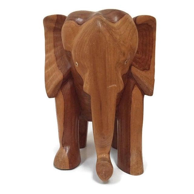 African Vintage Carved Wood Elephant Pedestal Statue 11 Inch For Sale - Image 3 of 12