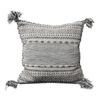 Woven Blue and Dark Grey Decorative Pillow With Tassels For Sale