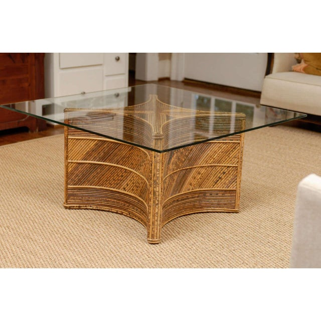 Boho Chic Elegant Vintage Bamboo Coffee Table For Sale - Image 3 of 11