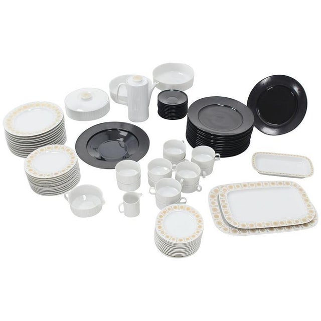 Tapio Wirkkala for Rosenthal Dinner Coffee 80 Pieces Set Plates Noire Porcelain For Sale - Image 10 of 10