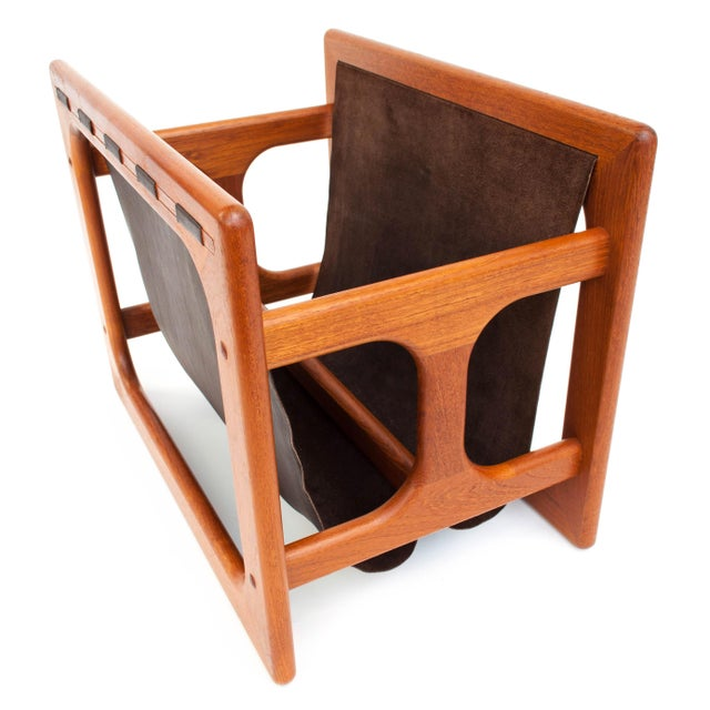 Wood Danish Modern Salin Møbler Teak and Leather Magazine Rack For Sale - Image 7 of 9