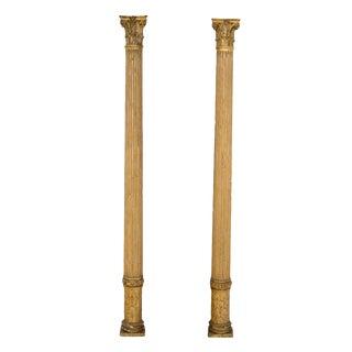 English Gilt Columns - A Pair For Sale