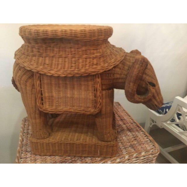 Mid 20th Century Vintage Wicker Ram Garden Stool Plant Stand For Sale - Image 5 of 10