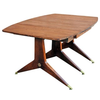 Gio Ponti Style Walnut & Brass Dining Table For Sale