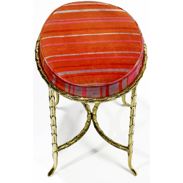 Mid-Century Modern Oval Palm Design Bronze and Velvet Stool For Sale - Image 3 of 8