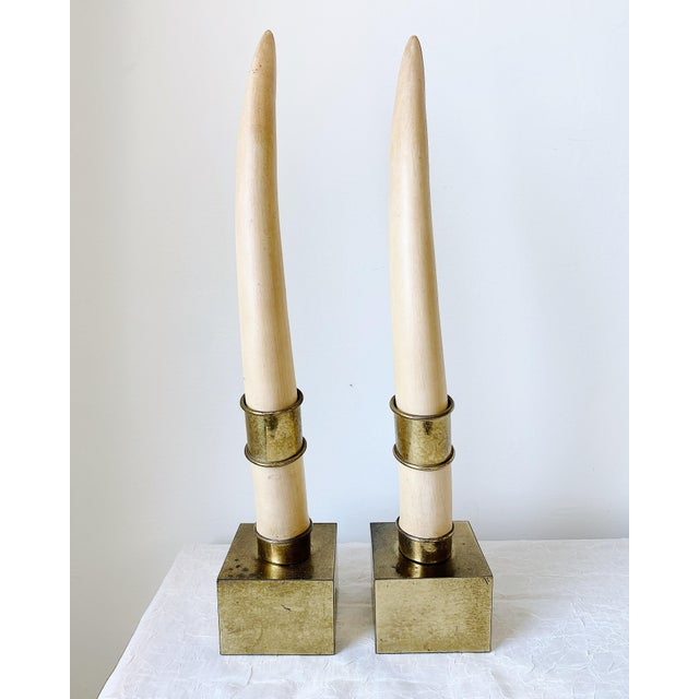 Modern Chapman Faux Tusk Brass Bookends - a Pair For Sale - Image 3 of 5