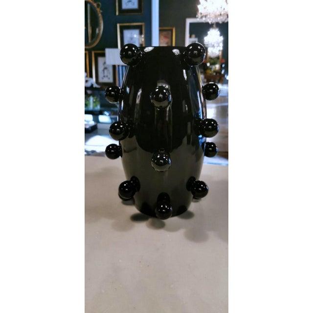 Black Polished Handmade Ceramic Sculpture Vase For Sale - Image 11 of 13