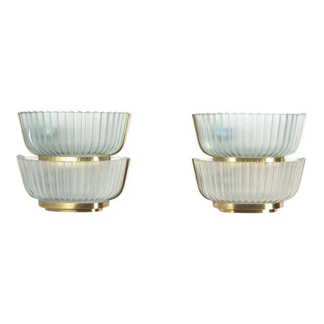 Pair of Late Art Deco Glass and Brass Sconces Refurbished, Italy, Circa 1940 For Sale