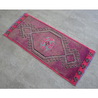 Distressed Low Pile Turkish Yastik Petite Rug Low Pile Faded Mat - 17'' X 40'' Preview
