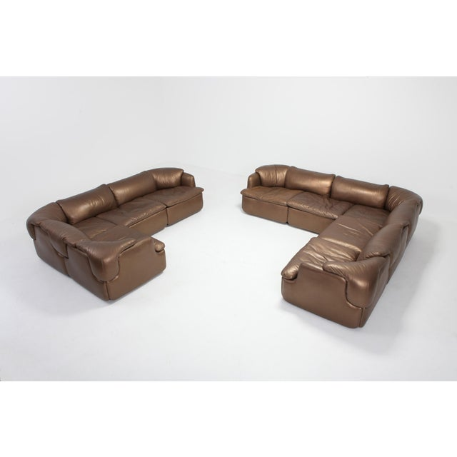 Bronze Leather Saporiti High-End Sectional Sofa 'Confidential' For Sale - Image 9 of 12
