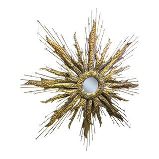 Vintage Brutalist Brass Starburst Mirror