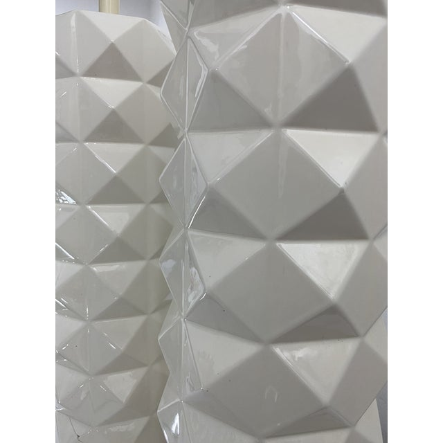 Large White Ceramic Quilted Pattern Lamps - a Pair For Sale - Image 4 of 11