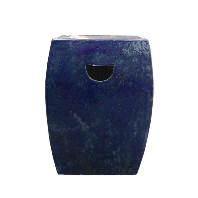 Chinese Navy Blue Clay Garden Stool For Sale - Image 4 of 5