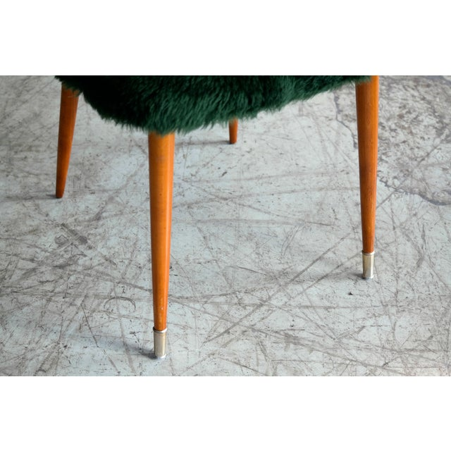Frode Holm Inspired Mid-Century Danish Vanity Chairs in Elm and Green Faux Fur - a Pair For Sale - Image 9 of 10