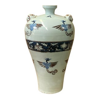 Chinese Red Blue White Porcelain Hand Painted Phoenix Vase For Sale