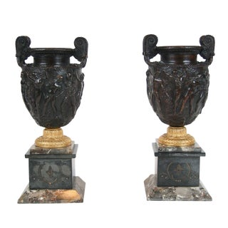 Bronze and Marble Townley Vases - a Pair For Sale
