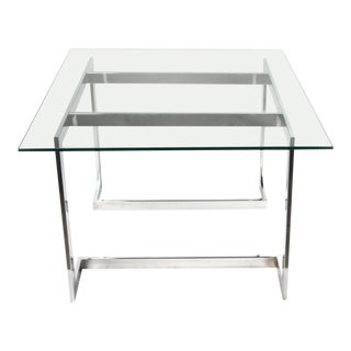 Modern Chrome & Smoked Glass Side Table For Sale