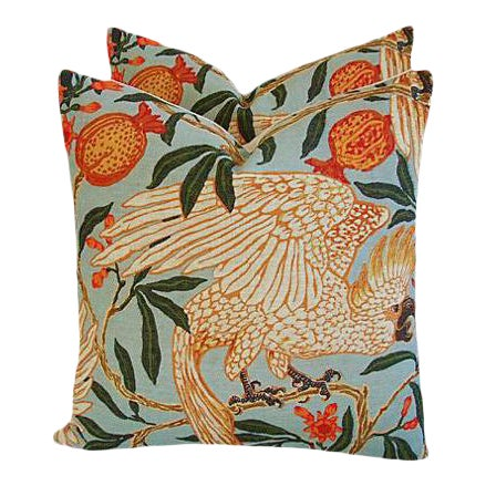 "20"" Colorful Tropical Parrot & Pomegranate Feather/Down Pillows - Pair - Image 1 of 8"