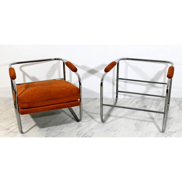 Orange Mid-Century Modern Pair of Tubular Chrome Lounge Chairs and Ottoman For Sale - Image 8 of 11